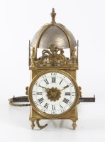 A lovely miniature French brass alarm lantern wall timepiece, circa 1740