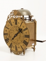 A well engraved French brass alarm lantern timepiece, circa 1740