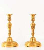 Barbedienne; a pair French Louis XIV gilt bronze candle sticks, circa 1860