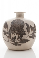 Rare Chinese stoneware truncated meiping painted with brown peonies and with incised details.