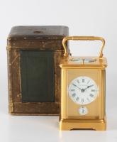 A small French gilt quarter striking and alarm carriage clock, Margaine, circa 1900