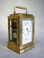 A fine brass gorge case carriage clock, striking and alarm, LeRoy & Fils, circa 1870.