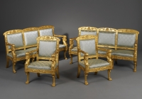 An Italian Empire Ensemble of Two Armchairs and Two Sofas