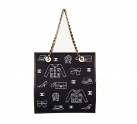 Chanel Black Canvas Symbol Print  Shoulder Bag