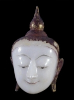 An alabaster painted and gilded Buddha head Buddhist Art Birma
