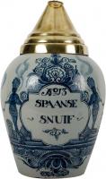 A Blue and White Tobacco Jar in Dutch Delftware