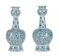 A Pair Blue and White Knobbelvases in Dutch Delftware