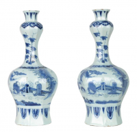 A Pair Blue and White Dutch Delft 'Knobbelvases'