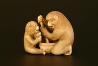 An ivory netsuke: two monkeys