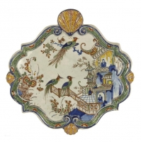 A Wallplaque in Dutch Polychrome Delftware