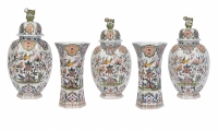 Delft Garniture of Five Polychrome Vases and Three Covers
