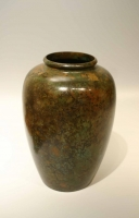 A green patinated bronze vase Japanese art