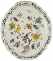 A  Polychrome Shaped Oval Plaque in Dutch Delftware