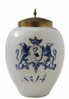 A Blue and White Dutch Delft Tobaccojar