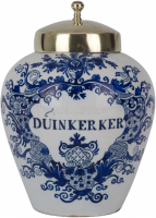 A Blue and White Tobaccojar in Dutch Delftware