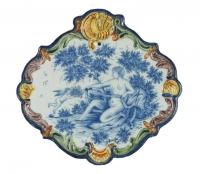 Geruite Plaquette in Delfts Polychrome Aardewerk
