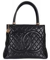 Chanel Black Quilted Leather Medallion Tote Bag