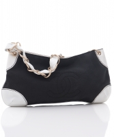 Chanel Black Canvas & White Leather Shoulder Bag - Chanel