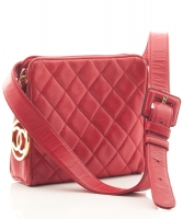Chanel Red Leather Quilted Belt Bag