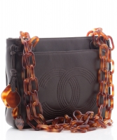 Chanel Brown Leather Tortoise Chain Shoulder Bag - Chanel