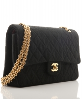 Chanel Double Flap Bag in Black Quilted Jersey - Chanel