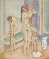 Mother with two kids in bathroom - Jan Sluijters