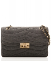 Chanel Grey Jersey Quilted Flap Bag - Chanel