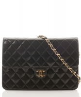 Chanel Black Quilted Lambskin Leather Flap Bag