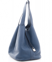Hermès 'Picotin Lock TGM' Bag in Blue Clemence Leather - Hermès