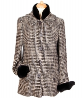 Chanel Mink Fur Trimmed Tweed Coat - Chanel