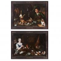 Twee grote olie op doek schilderijen, Jager en adellijke dame Vlaams mid 18e eeuw