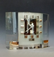 Very exceptional Atmos clock, in art deco glass design model T 5, Reutter, ca. 1930.