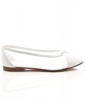 Chanel Bow CC White Mesh Canvas/Leather Cap Toe Flats - Chanel