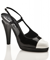 Chanel Patent Leather Cap Toe Slingback Pump - Chanel
