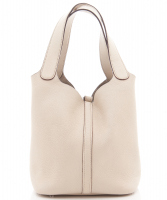 Hermès 'Picotin Lock MM Bag' in  Off White Clemence Leather - Hermès