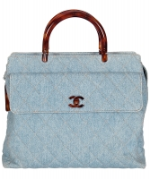 Chanel Blue Denim Quilted Tortoise Handle Handbag