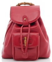 Gucci Red Leather Drawstring Bamboo Handle Backpack - Gucci