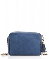 Chanel Vintage Navy Blue Straw Camera Tassel Bag