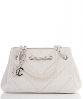 Chanel Witte Canvas Schoudertas - Chanel