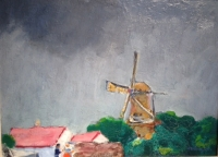 Summer landscape with mill in Holland