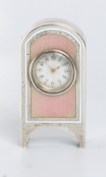 A miniature Swiss silver pink translucent guilloche enamel timepiece, circa 1900.