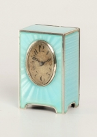 A miniature Swiss silver light blue guilloche translucent enamel timepiece, circa 1900