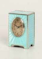 A miniature Swiss silver light blue guilloche translucent enamel timepiece, circa 1900