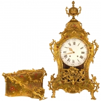 A large well proportioned French Transition musical bracket clock on wall bracket, circa 1770