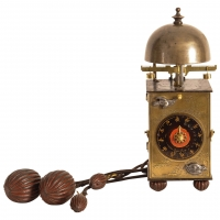 A small Japanese brass lantern clock, circa 1800