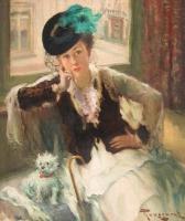 Dame in witte jurk met hond - Fernand TOUSSAINT