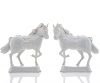 Pair of White Delft Figures of Horses