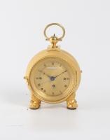 A fine Austrian ormolu grande sonnerie travel clock, Happacher circa 1820