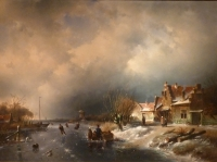 Winterlandscape with iceskating figures, right side village with willow-trees