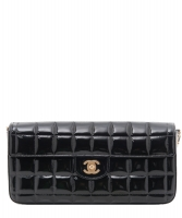 Chanel 'East West' Flap Bag in Black Quilted Patent Leather